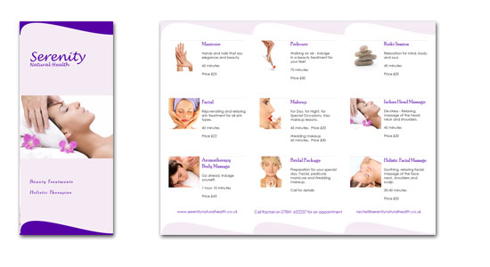 Mobile beauty therapy brochure design